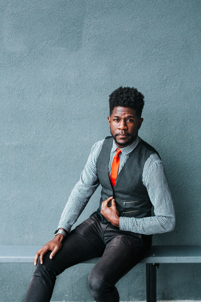 african american guy in altered waistcoat